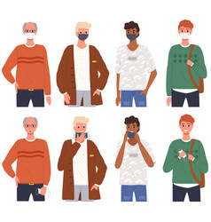 male characters wearing medical masks men vector image