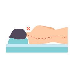 Man lying on his side incorrect sleeping posture vector
