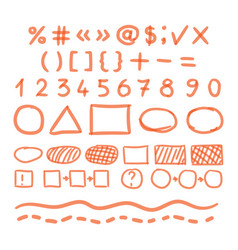 Marker hand written doodle numbers and symbols vector