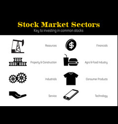 market sectors icons vector image