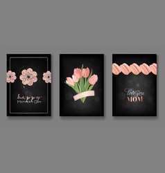 mothers day greeting card design set happy mother vector image