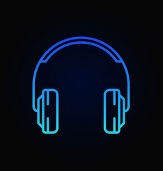 on-ear headphones blue minimal outline icon vector image