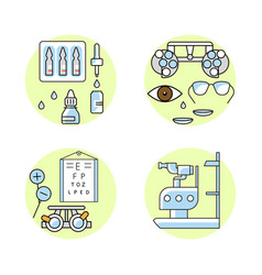 Ophthalmology outline flat icons vector