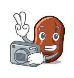 Photographer dates fruit mascot cartoon vector