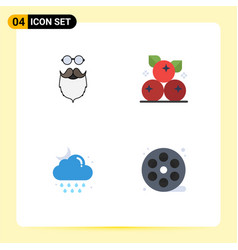 Pictogram set 4 simple flat icons moustache vector