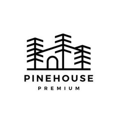 pine tree house logo icon vector image