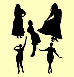 plus size model gesture silhouette 03 vector image