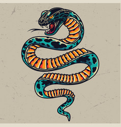 Poisonous snake colorful tattoo concept vector