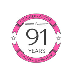 realistic ninety one years anniversary celebration vector image