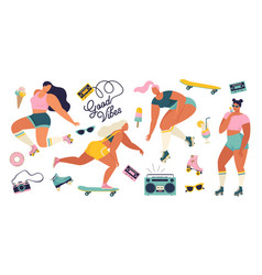 roller skating girls with record player dancing on vector image