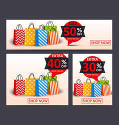 sale banner with shopping bags vector image