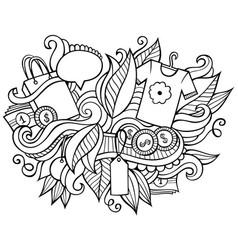 Sale hand drawn cartoon doodles funny shopping vector