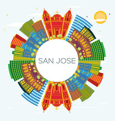 san jose costa rica city skyline with color vector image