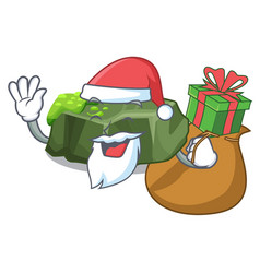 Santa with gift green rock moss isolated on vector
