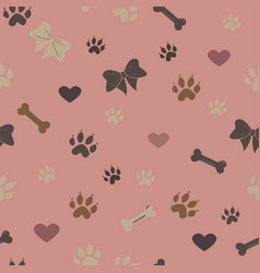 Seamless dog paw pattern vector