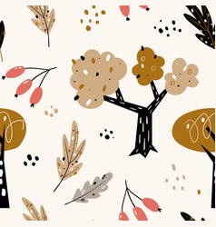 seamless pattern with abstract trees forest vector image