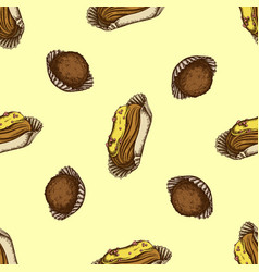 seamless pattern with hand drawn colored eclair vector image
