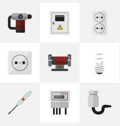 set of 9 editable electric icons includes symbols vector image