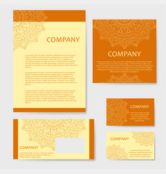 Set of business cards vintage pattern in retro vector