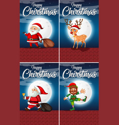 set of happy christmas cards vector image
