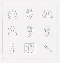 set of medicine icons line style symbols with vector image