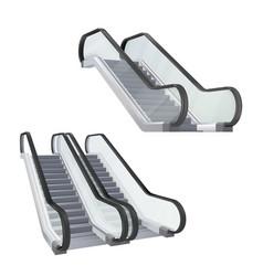 Set realistic escalator stairway electronic vector