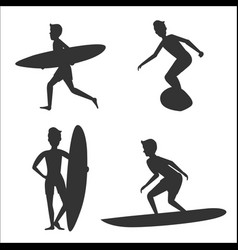 Set silhouettes male surfers vector
