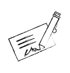 signature and pen icon image vector image