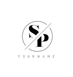 sp letter logo with cutted and intersected design vector image
