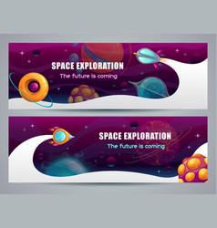 Space exploration concept horizontal web banner vector