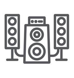speaker system line icon audio and loudspeaker vector image