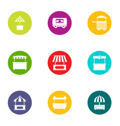 Street shopping icons set flat style vector