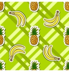 Striped Background Banana Pineapple vector image