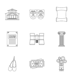 Theatre icons set outline style vector
