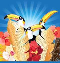 tropical with palm leaves and toucans vector image