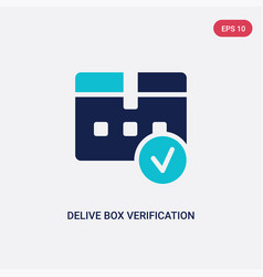 Two color delive box verification icon from vector