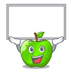 up board cartoon of big shiny green apple vector image
