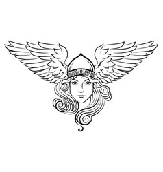 Viking scandinavian design valkyrie in a winged vector