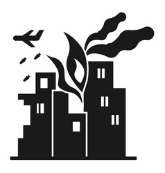War fire city icon simple style vector