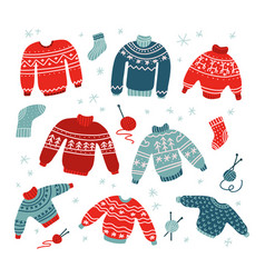 winter and christmas ugly and cute sweaters in vector image