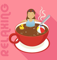 woman in red cup of hot coffee vector image