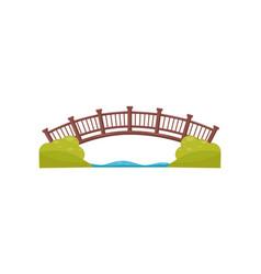 Wooden arch bridge walkway across the river vector