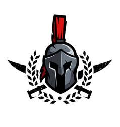wreath swords and helmet spartan warrior vector image