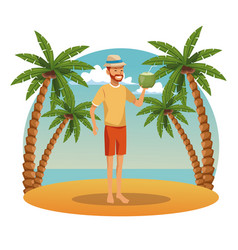 young man in the beach vector image