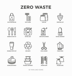 Zero waste thin line icons set menstrual cup vector