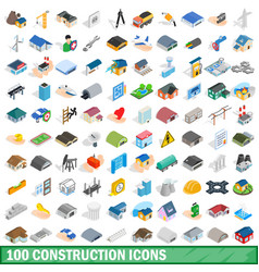 100 construction icons set isometric 3d style vector image