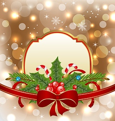 Christmas elegant card with holiday decoration vector image vector image