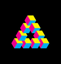 Impossible triangle in cmyk colors cubes arranged vector
