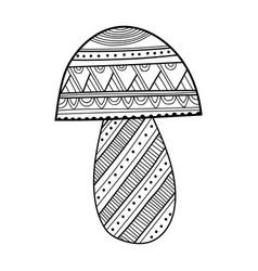 ornamental mushroom black and white vector image