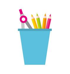 school plastic cup with pencil pen supplies vector image